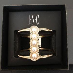 INC Gold Pearl Row Hinge Bracelet NWET!